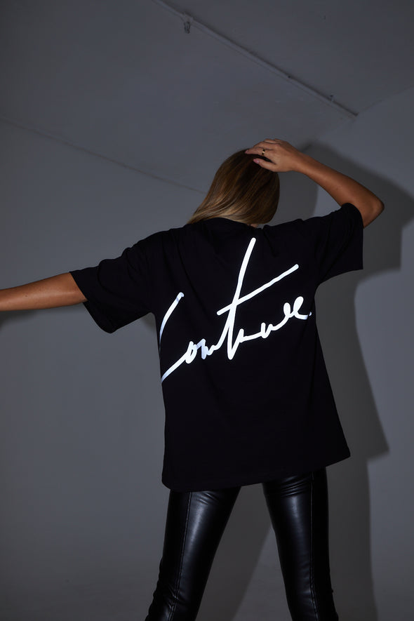 COUTURE SIGNATURE REFLECTIVE T-SHIRT BLACK