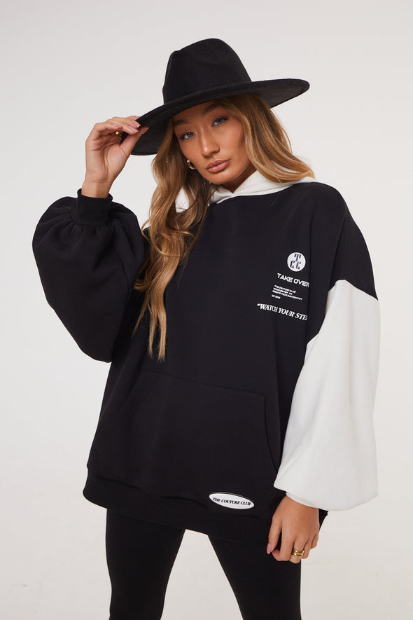 SPLICED GRAPHIC PUFF SLEEVE HOODIE