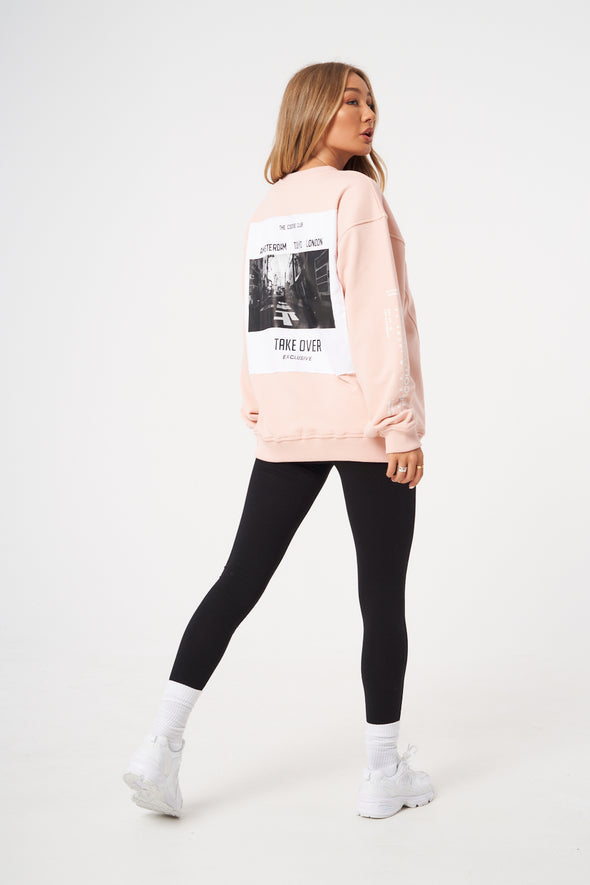 TAKE OVER SLOGAN OVERSIZED SWEATER