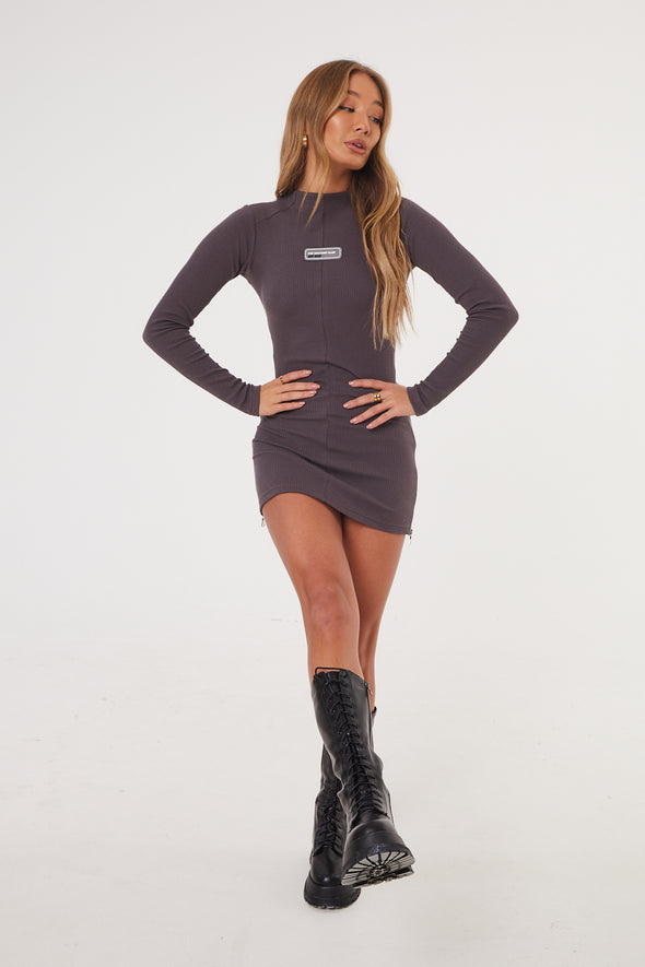 RIBBED ZIP SIDE LONG SLEEVED DRESS