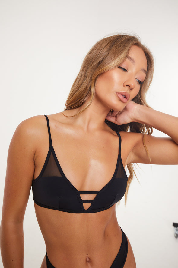 MESH PANELLED BLACK BRALET