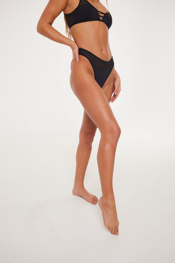 MESH PANELLED HIGH LEG BLACK THONG
