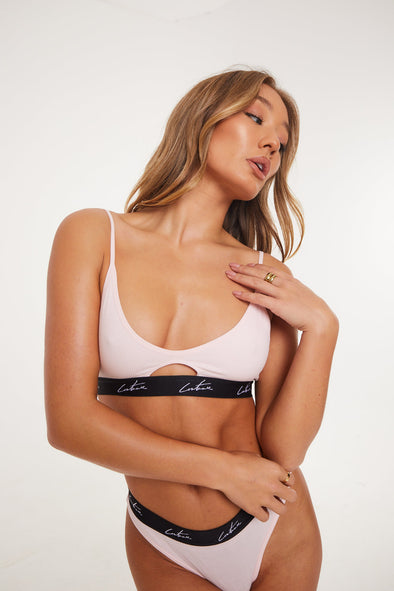 COUTURE BANDED RIBBED BABY PINK BRALET