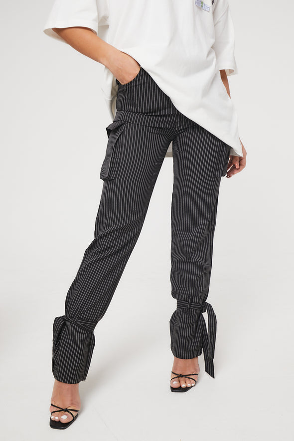 PIN STRIPE CARGO TROUSERS