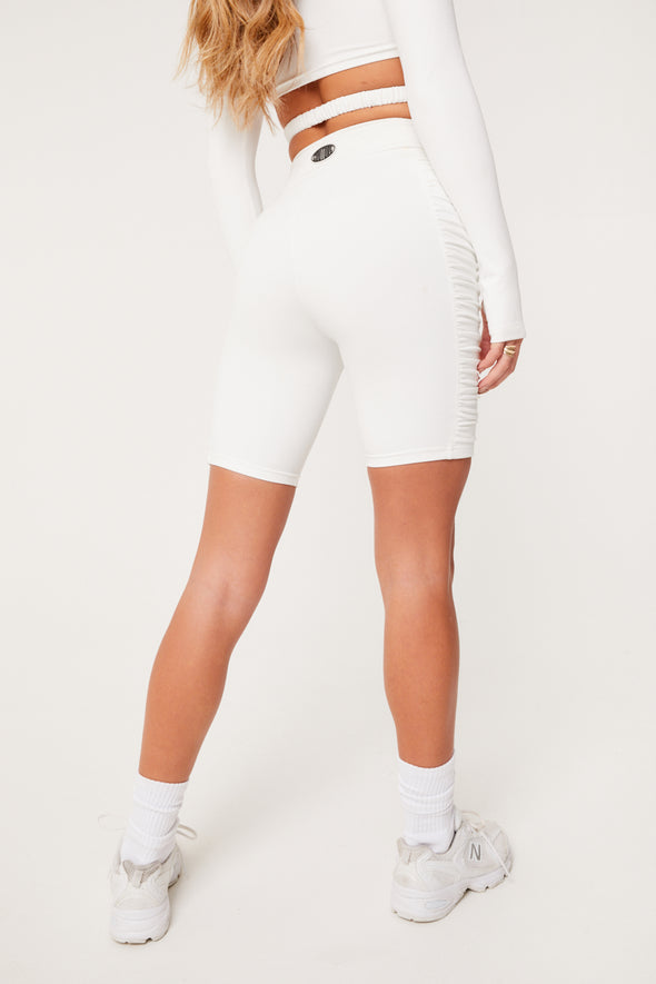RUCHED SIDE CYCLING SHORTS