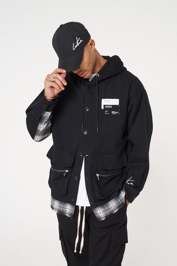 OVERSIZED LAYERED SHACKET WITH HOOD