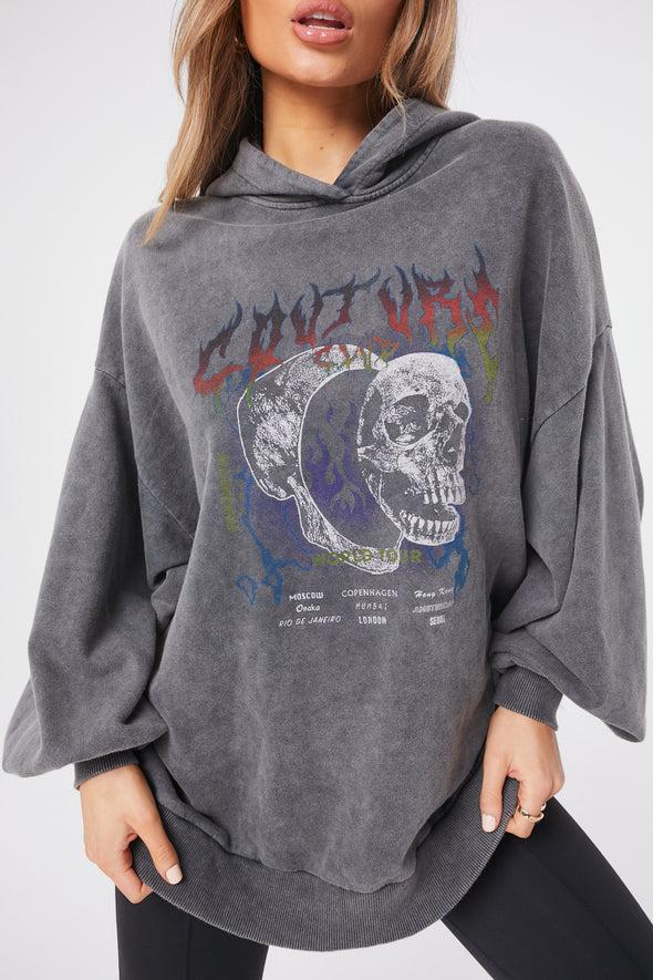 SKULL TOUR GRAPHIC OVERSIZED HOODIE