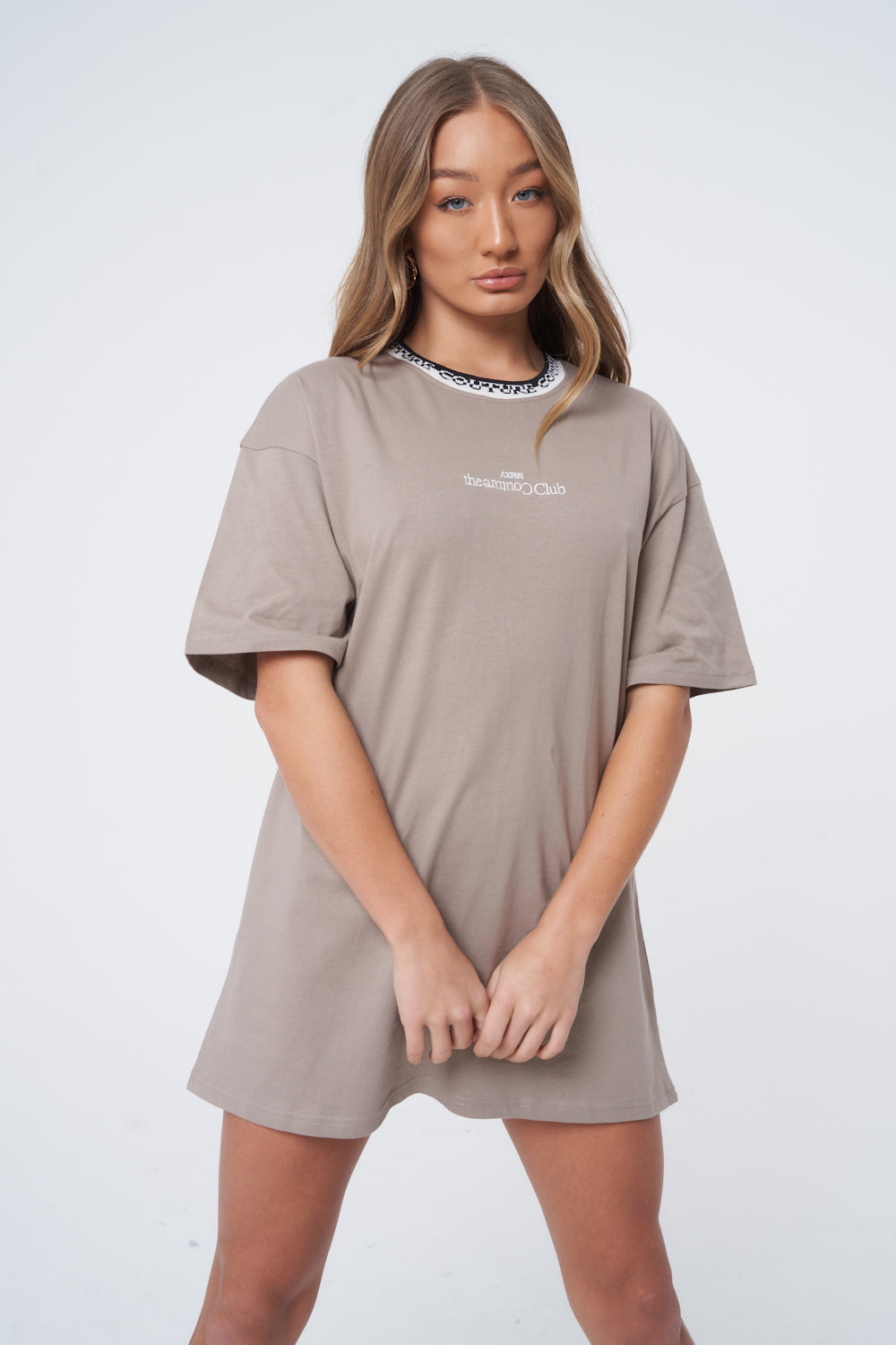 Clothing & Accessories Jacquard Neck Oversized Tee Dress