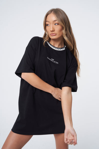 JACQUARD NECK OVERSIZED TEE DRESS