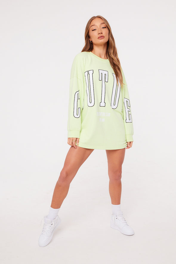 COUTURE VARSITY APPLIQUE SWEATER DRESS