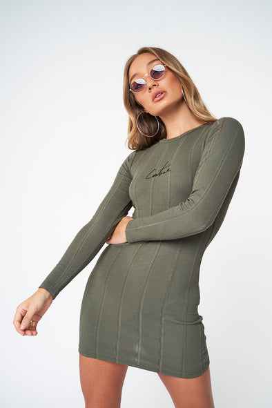 RIBBED SIGNATURE LS FITTED DRESS