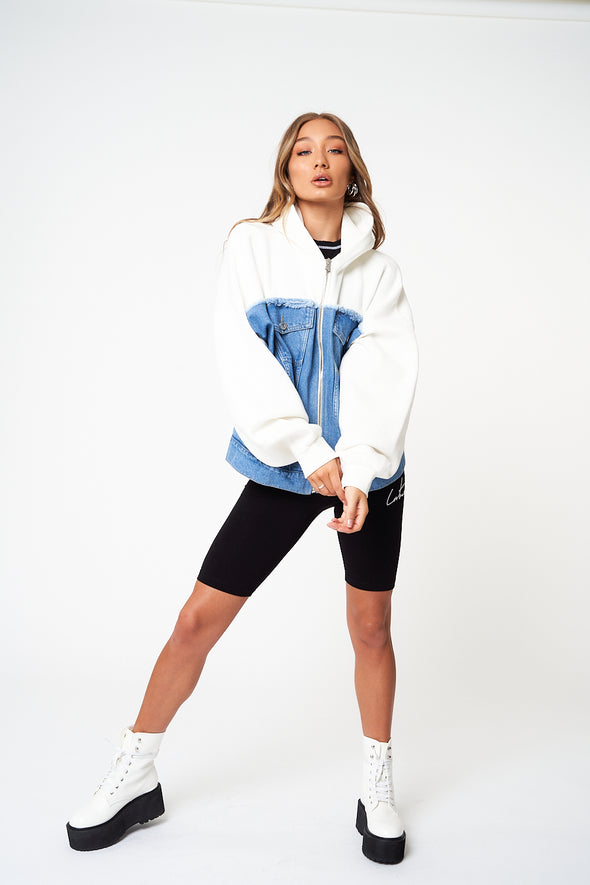 JERSEY HOODED DENIM JACKET