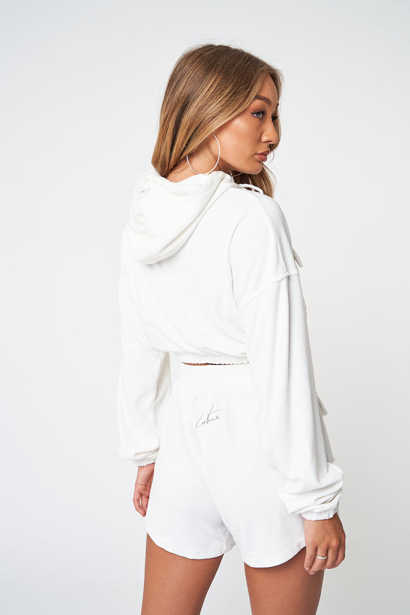 TOWELLED CARGO POCKET CROPPED HOODIE
