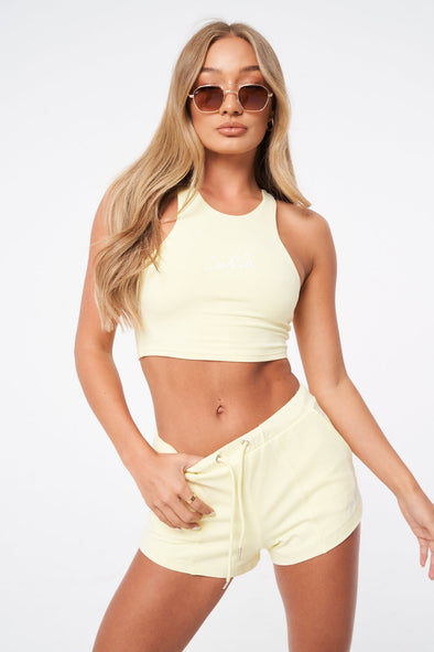 ESSENTIAL FITTED RACER CROP TOP