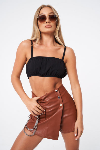 RUCHED JERSEY ZIP BACK CROP TOP