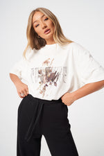 FLORAL GRAPHIC DISTRESSED T SHIRT