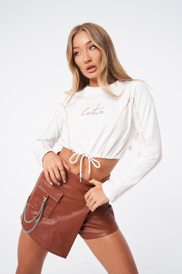 OVERLOCK DETAIL LONG SLEEVE CROP TOP