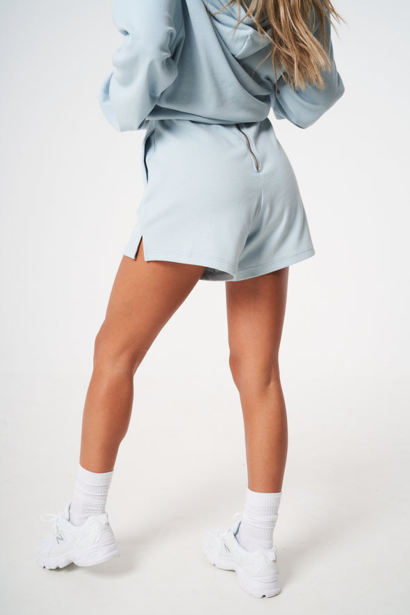 RIBBED ZIP BACK BOYFRIEND SHORTS
