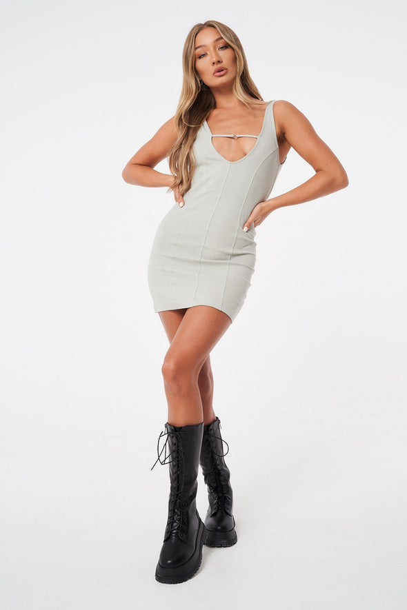 RIBBED SEAM DETAIL MINI DRESS