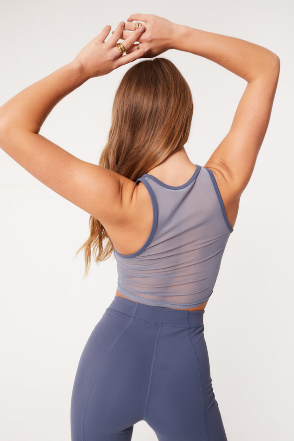 OVERLOCK MESH PANELLED RACER BACK TOP