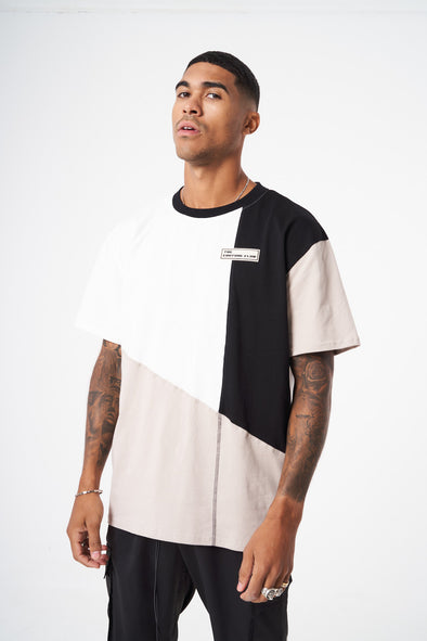 SPLICED CONTRAST STITCH REGULAR FIT T SHIRT