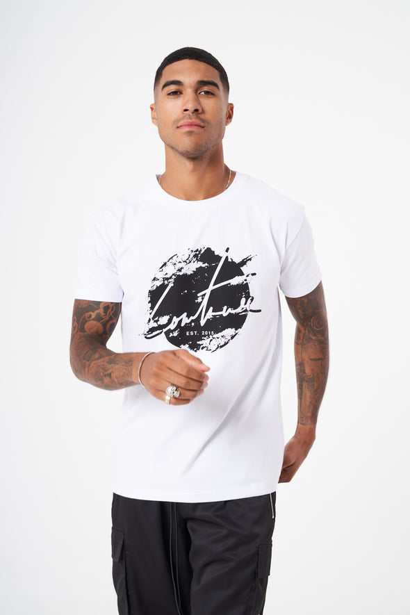 DISTRESSED CIRCLE CUT OUT SLIM FIT T-SHIRT