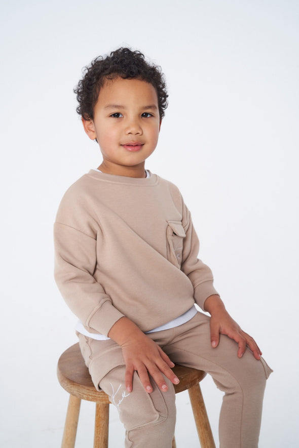 KIDS 3D POCKET JERSEY SWEATER OATMEAL