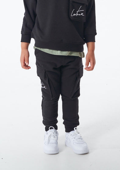 KIDS 3D POCKET JERSEY CARGOS BLACK
