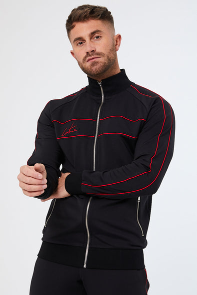 CONTRAST PIPED TRACK TOP