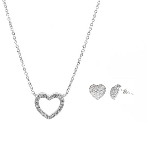 """Pandora Inspired"" Pavé Heart Necklace & Stud Earrings Set"