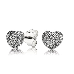 """Pandora Inspired"" 925 Sterling Silver Pavé Heart Stud Earrings"