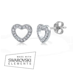 """Pandora Inspired"" 925 Sterling Silver Pavé Heart Earrings"