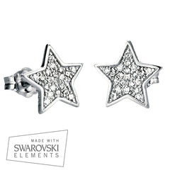 """Pandora Inspired"" 925 Sterling Silver Pavé Star Stud Earrings"