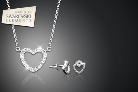 White Gold Plated Open Heart Pavé Necklace & Earrings Set with Swarovski Elements