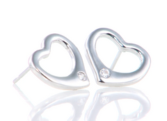 """Tiffany Inspired"" 925 Sterling Silver Open Heart Earrings"