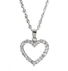 """Pandora Inspired"" 925 Sterling Silver Pavé Heart Necklace with Swarovski Elements"