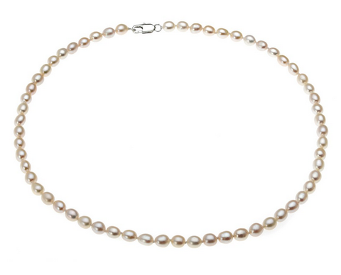 Grade AA Freshwater White Pearl & Sterling Silver Necklace