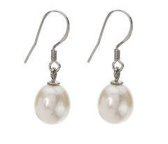 Freshwater Pearl Sterling Silver Drop Hook Earrings
