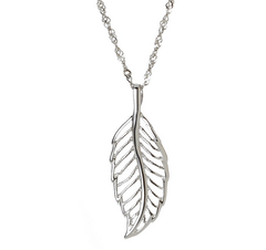 """Pandora Inspired"" 925 Sterling Silver Feather Pendant Necklace"