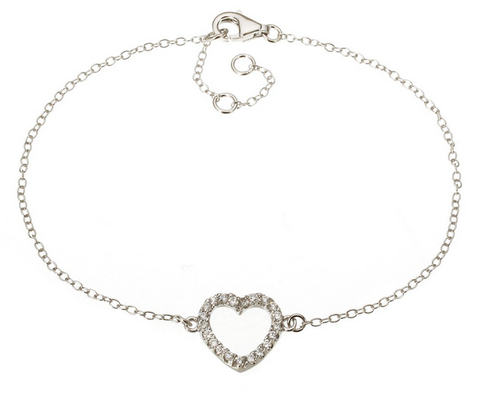 White Gold Plated 925 Sterling Silver Open Heart Pavé Bracelet with Swarovski Elements