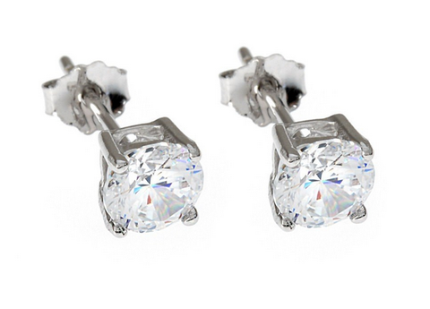 18ct White Gold Plated Round Crystal Earrings with Swarovski Elements