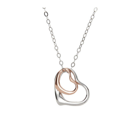 18ct White Gold Plated Open Heart Necklace, Bracelet and Earrings Trio Set