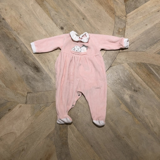 Pink velour baby grow with sleeping teddy