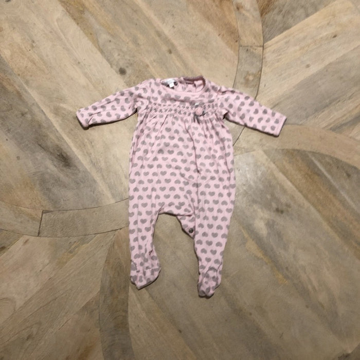 Pink and grey heart print baby grow