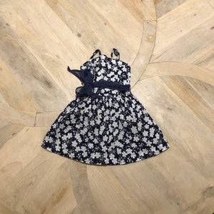 Flower print mavy dress with belt