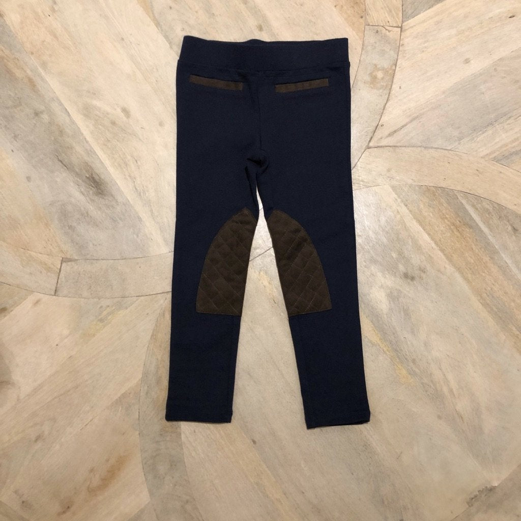 Navy riding pants with brown suede patches and detailing