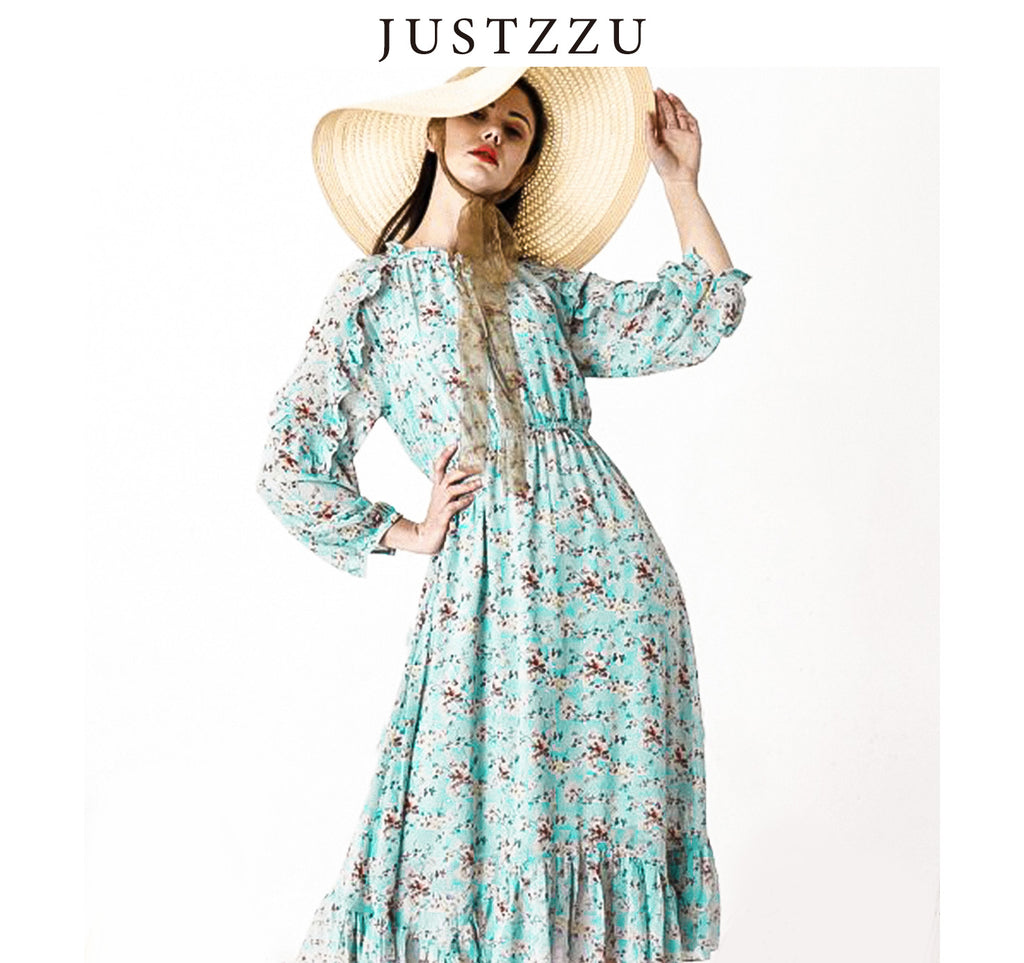JUSTZZU FLORAL WOMEN DRESS