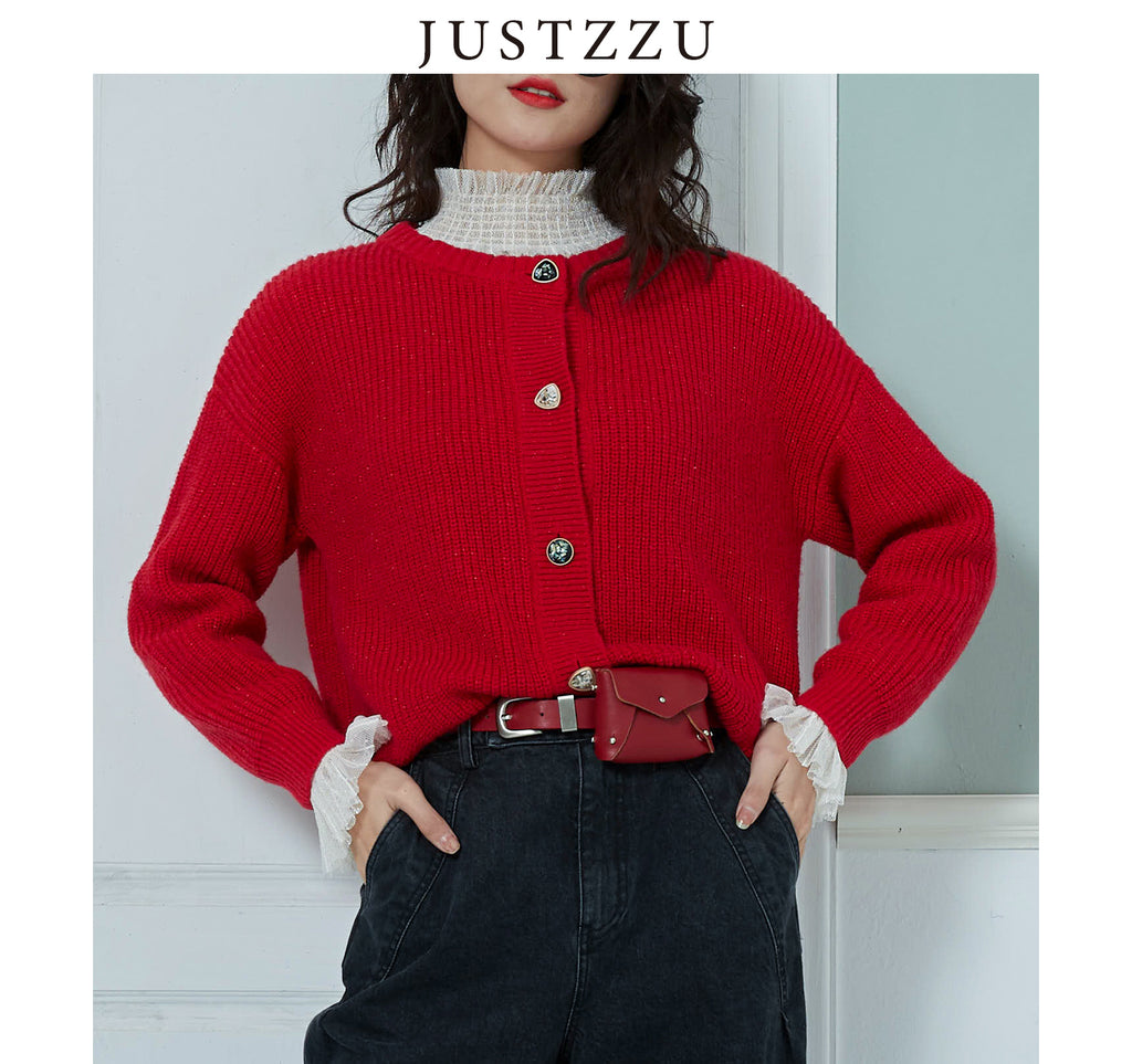 JUSTZZU Women Knitted Cardigan