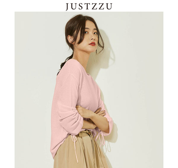 JUSTZZU Women Pure Color Knitted Sweater