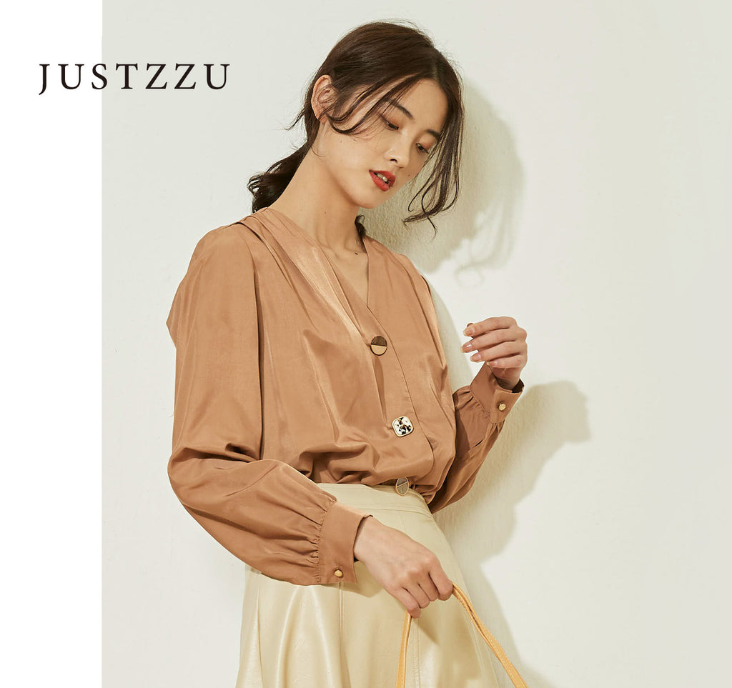 JUSTZZU Women Loose Blouse Shirt
